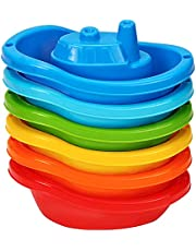 TECHNOK Bath Boats- Multi-Colored Baby Bath Toys - Fun and Educational Bath Toys for Toddlers - Stackable Bath Toy - Toddler Bath Toys for Girls and Boys
