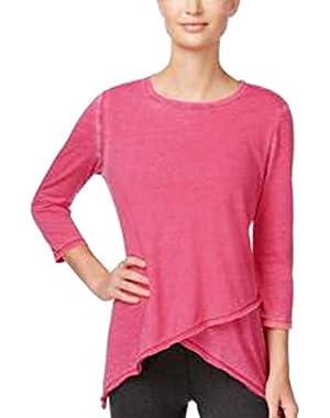 Calvin Klein Performance Asymmetrical-Hem Heathered Top Pink X-Small