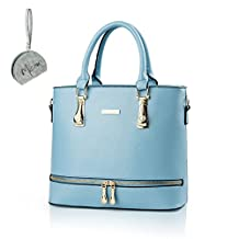 Micom Summer Ladies Solid Pu Leather Purse Zip Tote Handbags for Womens