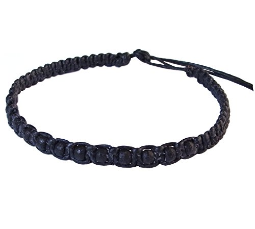 Thai Buddha Fashion Art Handmade Bracelet Black Wax String Black Wood Beads Wristband Thailand