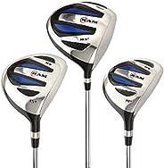 Ram Golf EZ3 Mens Steel Wood Set - Driver, 3 & 5 Wood - Headcovers Incl