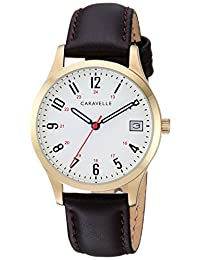 Caravelle Women's Quartz Stainless Steel and Leather Dress Watch, Color Brown (Model: 44M112)