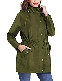 Women Raincoats Waterproof Lightweight Rain Jacket Active Outdoor Hooded Trench Coat