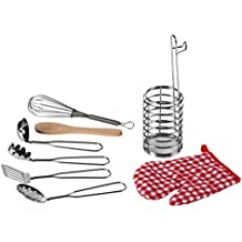 Blue Panda Pretend Play Kitchen Toy Set - 8-Piece Kids Cookware Playhouse Chef, Includes Small-Sized Stainless Steel Ladle, Spatula, Spaghetti Server, Utensil Holder Oven Mitt