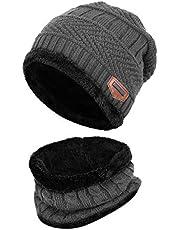 Aispark Winter Beanie Hat Scarf Set Warm Knit Hat Thick Knit Skull Cap for Men Women