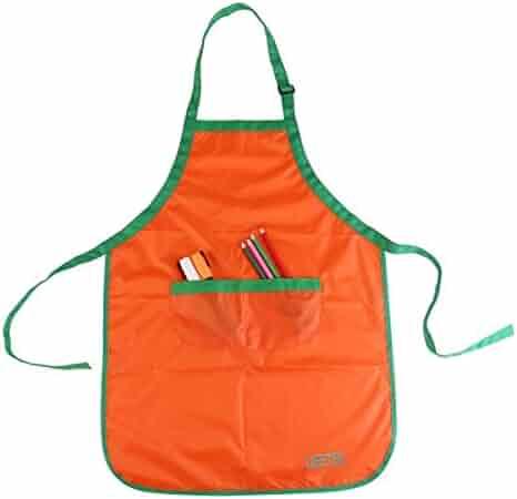 UEETEK Children Kids Waterproof Art Craft Smock Apron for DIY Painting Drawing with Sleevelet(Orange)