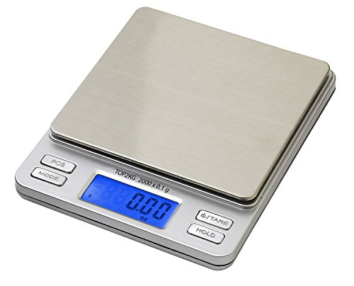 Amazon Lightning Deal 94% claimed: Smart Weigh Digital Pro Pocket Scale with Back-Lit LCD Display, Tare, Hold and PCS Features 2000 x 0.1-Gram Capacity, 2 Lids Included