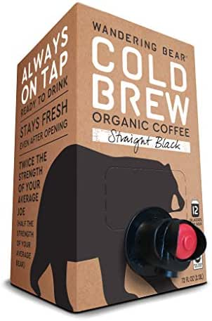 Wandering Bear Organic Cold Brew Coffee On Tap, Straight Black, No Sugar, Always Fresh and Ready to Drink, Not a Concentrate, 72 fl oz