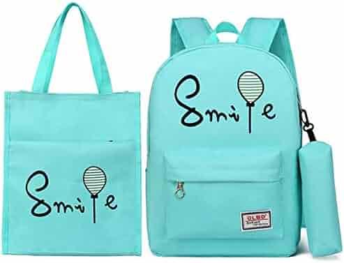 8efaed653 Children's school bag Teen girl backpack set 3 in 1 laptop bag smile and  balloon printing