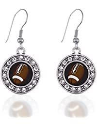 Football Lovers Circle Charm French Hook Earrings