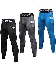 Leeofty Set van 3 compressiebroeken voor heren, sneldrogende sportpanty's, baselayer, hardlopen, workout, actieve sportieve leggings met zakken