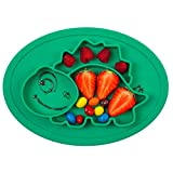 Qshare Toddler Plate, Portable Baby Plate for Toddlers and Kids, BPA-Free FDA Approved Strong Suction Plates for Toddlers, Dishwasher and Microwave Safe Silicone Placemat 28 * 20 * 2.5cm
