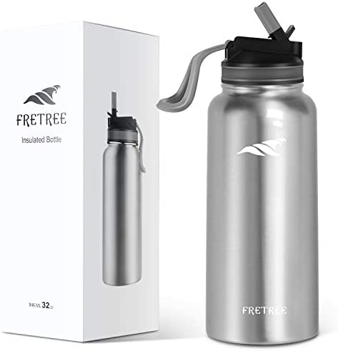 FRETREE Vacuum Insulated Water Bottle Stainless Steel Water Bottle with Wide Mouth Straw Lid, Double Walled Water Bottle, 32 oz, Matte Black