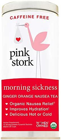 Pink Stork Morning Sickness Tea: Ginger-Orange Nausea Tea, USDA Organic, Support Digestion + Hydration, Biodegradable Sachets, 30 Cups