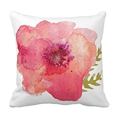 Personalized 18X18 Inch Square Cotton Pillowcases Pink Watercolor Flower Pillow Covers