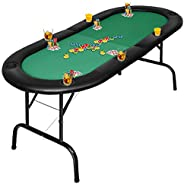 Giantex Folding Play Poker Table w/Cup Holder, for Texas Casino Leisure Game Room, Foldable Blackjack Table (8