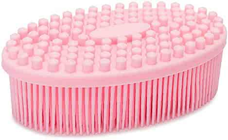 Silicone Bath Shower Loofah Brush, 100% Silicone Gentle Back Scrubber, Best Body exfoliating loofa Brush Gift for Baby Kids Men Father Mother Wife Family (Pink)