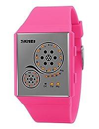 Mastop Unisex Watches Digital Sport Binary Led Watch Band 50M Waterproof Wristwatch Mei Red