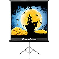 Projector Screen with Foldable Stand Tripod, Excelvan Portable Video HD 70 inch Indoor Outdoor Movie Screen Wrinkle-Free Pull Up Adjustable Design for Home Cinema Projection