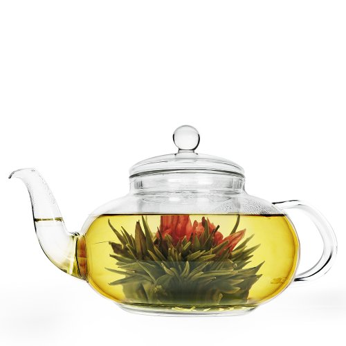 Primula Daisy Borosilicate 40oz Glass Teapot with Glass Infuser – For Loose Tea, Bagged and Flowering Teas