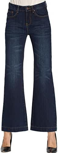Camii Mia Women's Mid Rise Wide Leg Flared Denims Jean Pants