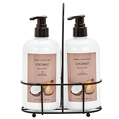 Green Canyon Spa Coconut Body Lotion Pack of 2 x16.4oz Christmas Gift Set for Women, Enriched with Organic Shea Butter Body Butter Moisturizing Calming & Nourishing for Dry & Sensitive Skin