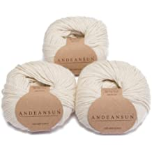100% Baby Alpaca Yarn Skeins - Set of 3 Ivory - AndeanSun - Luxuriously soft for knitting, crocheting - Great for baby garments, scarves, hats, and craft projects Ð IVORY