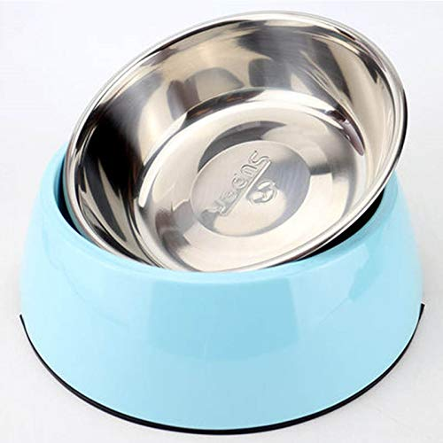 bluee LZHBWJSH Pet Bowl, Stainless Steel Dog Bowl, Cat Bowl, NonSlip Rice Bowl (Pink Green bluee Yellow) (color   Green, Size   S)