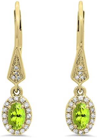 10K Yellow Gold Ladies Halo Style Dangling Drop Earrings