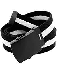 Men's Black Slider Military Belt Buckle with Canvas Web Belt