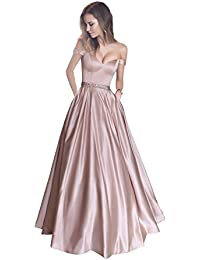 5414dd6d86 Off The Shoulder Beaded Satin Evening Prom Dress with Pocket