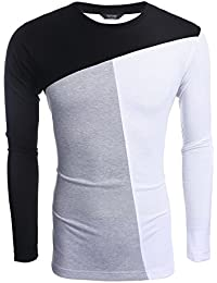 Men's Patchwork Crewneck Casual Slim Fit Long Sleeve Pullover T-Shirt