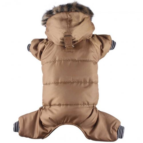 L chest 46-48cm, back 31-33cm Doggydolly Snow coat for dogs 4 legs brown hoodie