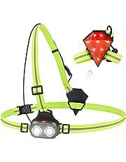 Hardloopverlichting, Welltop Waterdicht Hardlooplicht, led-borstlamp 70° verstelbare stralingshoek & 500 lumen, USB oplaadbaar met 2 standen elastische band voor joggen hond wandelen wandelen vissen