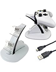 LeSB Xbox One/Xbox One S Dual Controller Charging Dock Kit, Base di Ricarica per Controller/Gamepad di Xbox One/Xbox One S, Bianco