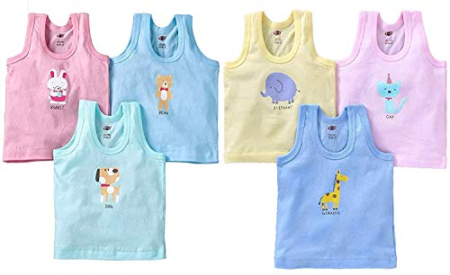 ANGAAKAR CLOTHINGS Printed Vest baniyan Cotton Inner wear Vest for Baby Vest Kids Vest Toddler Vest Pack of 6