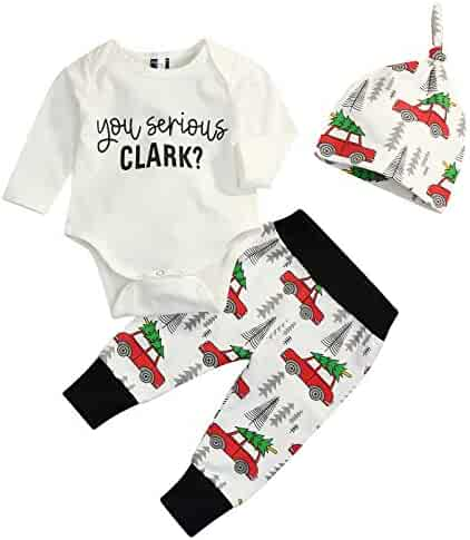 3Pcs Newborn Baby Christmas Pajamas Xmas Car Romper Pants+Xmas Hat Coming Home Outfits Set