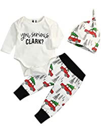 6b7874afd22 Newborn Infant Baby Christmas Car Spring Clothes Romper Tops +Long Pants  Outfit 3Pcs Set
