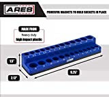 ARES 60006 - Blue 26-Piece 1/4-Inch Metric Magnetic Socket Organizer - Holds 13 Standard Size and 13 Deep Size Sockets - Keeps Your Tool Box Organized