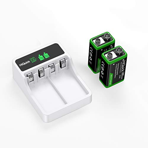 HiQuick 9V Rechargeable Batteries with 9V Battery Charger for 9 Volt Lithium Li-ion & Ni-MH Rechargeable Batteries for Smoke Alarm Detectors