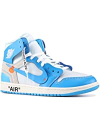 Nike Mens Air Jordan 1 X Off White NRG UNC White/Dark Powder Blue Leather Size 8.5