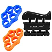 #LightningDeal GM5SMART Finger Stretcher, Hand Resistance Bands Hand Grip Strengthener Strength Trainer Gripper Set for Arthritis Carpal Tunnel Exercise Guitar and Rock Climbing(2 Finger Resistance+1 Hand Grip)