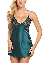 Women Lingerie Satin Nightgown Lace Babydoll Chemise V Neck Sleepwear
