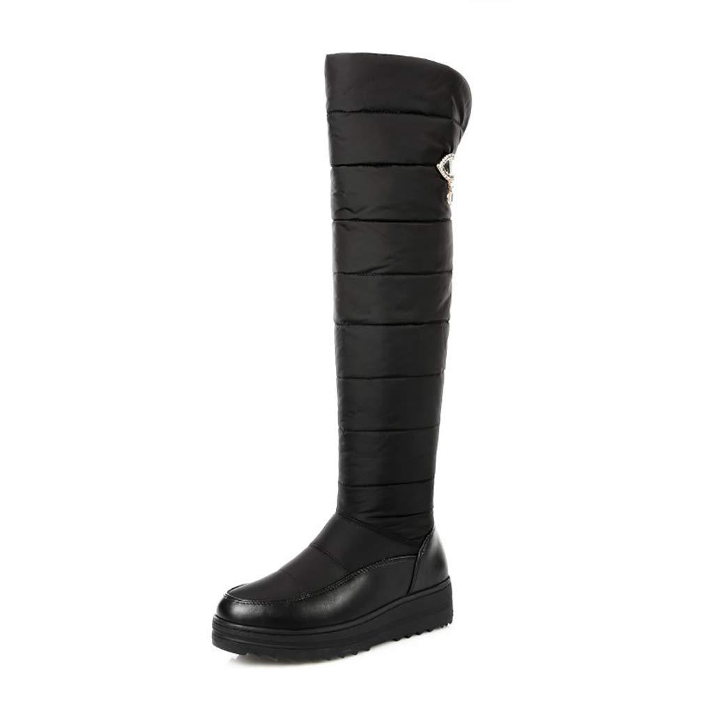 Hy Frauen-Stiefel-Winter-künstliches PU-warme windundurchlässige hohe Stiefel/Damen-Flache Over-Knie-Aufladungen/Schnee-Aufladungsstiefel/Reitstiefel-gehende Schuhe (Farbe : Schwarz, Größe : 36)