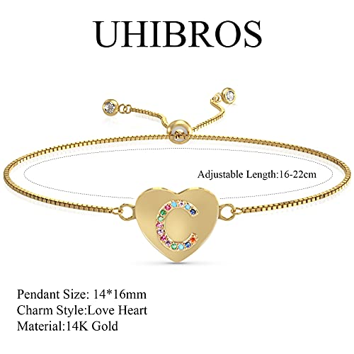 UHIBROS Heart Initial Bracelet for Women, 14K Gold Plated Love Heart Charm Monogram Bracelet , Dainty A to Z Letter Initial Bracelet for Teen Girls-C