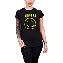 Nirvana T Shirt Classic Smiley Face Logo Official Womens Black Junior Fit