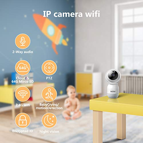 Indoor Security Camera Wireless IP Camera JouSecu Dome Camera 1080p Motion Detection 2-Way Audio Night Vision Suitable for Surveillance Home Elder Nanny Pet Safety 2.4G WiFi