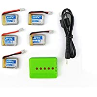UUMART JJRC H8mini RC Quadcopter Spare Parts 5 Pcs 150mAh 30C Lipo Battery + 5 In 1 Charger