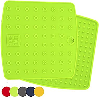 Holiday Sale! Premium 5 in 1 Silicone Kitchen Tool: Trivet Mat, Pot Holders, Spoon Rest, Jar Opener, Coaster - Heat Resistant Hot Pads - Thick & Flexible - Great Gifts for Her (Set of 2, Lime Green)