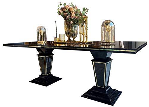 Casa Padrino Mesa de Comedor Art Deco marron Oscuro/Negro/Oro 220 x 110 x A. 76 cm - Noble Mesa de Comedor con sobre de Vidrio - Muebles de Comedor Art